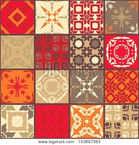 Moroccan ceramic tiles. Cute patchwork pattern in warm tones. Vector illustration. Pillowcase.