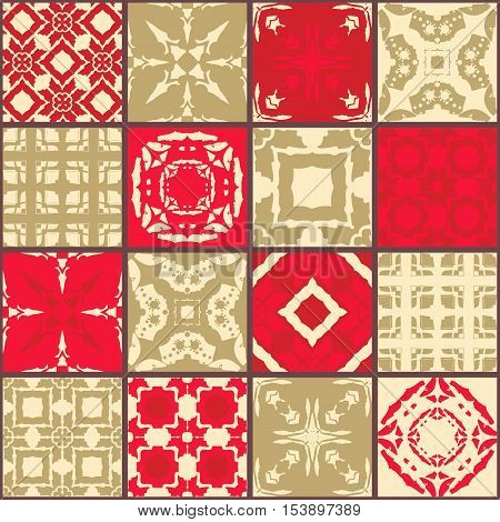 Glazed bohemian tiles with hand drawn elements. Patchwork pattern. Vector illustration.