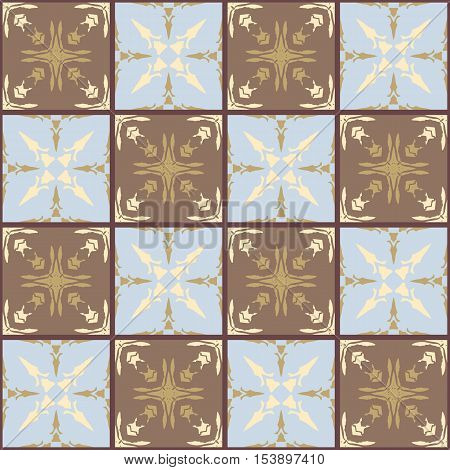Moroccan ceramic tiles. Cute patchwork pattern in cool tones. Vector illustration. Pillowcase.