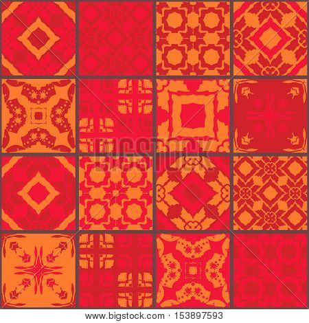Red moroccan ceramic tiles. Cute patchwork pattern. Vector illustration. Pillowcase.