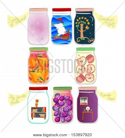 Medicine for the soul: memories of voyage, summer night, favorite books, scents of summer, romantic dinner and a few jars of jam and compote. Cute cartoon allegorical vector illustration.