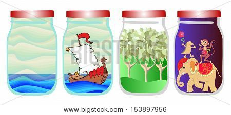 Save the memories of summer. Vector allegorical illustration with sea ship, forest and tropical animals in jar. Elephant, monkey and crocodile.