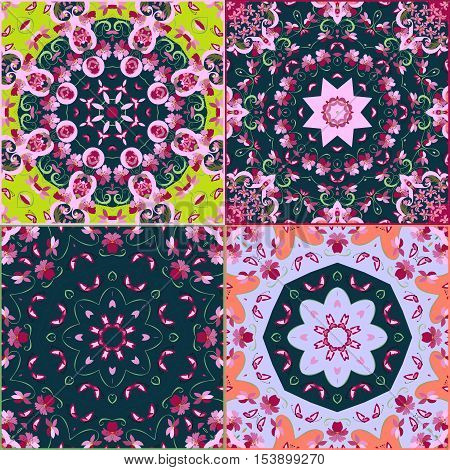 Vector set of four beautiful oriental pattern. Multicolor tiles. Pillowcase or bandana print.