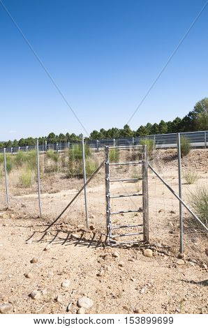 View of one-way deer gate. Picture taken in A-15 motorway Soria Spain