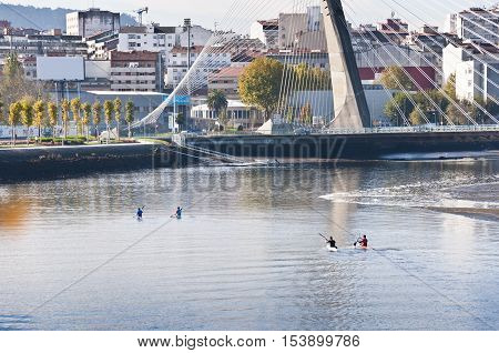 Rowing in the ria of Pontevedra Galicia Spain