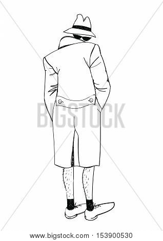 Suspicious man. Vector illustration of an exhibitionist sketch handmade