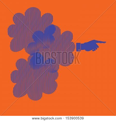 Silhouette of a hand with a pointing finger. Direction Sign vector