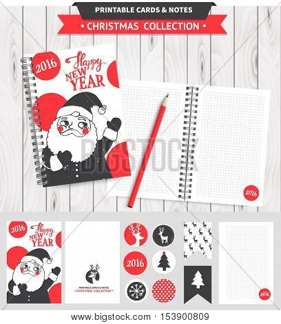 Hipster New Year and Merry Christmas illustration with dear. Vector illustration.
