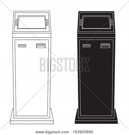 ATM. Bank machine. Automated Teller Machine. Web icon. Vector illustration isolated on white background