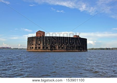 Kronstadt Russia - 10 July 2016: naval fort Alexander I or Plague Fort. Built in the years 1836-1845. In 1899-1917 the fort housed a research laboratory on plague and other bacterial diseases.