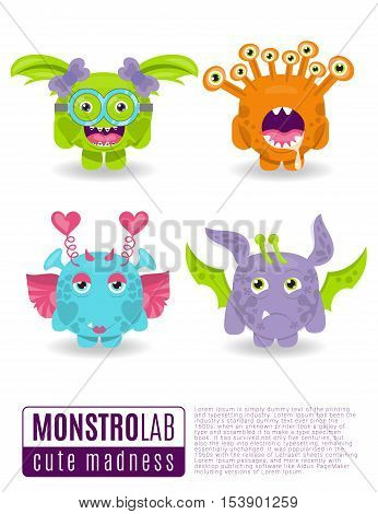 Cute vector illustration monsters with toothy grins