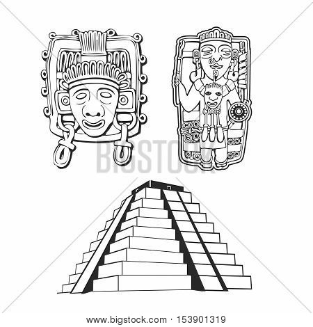 Vector Ancient Symbolism Outline for South American Indigenous , Mayan, Inca, Aztec