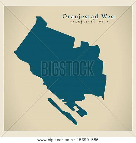 Modern Map - Oranjestad West AW Aruba vector