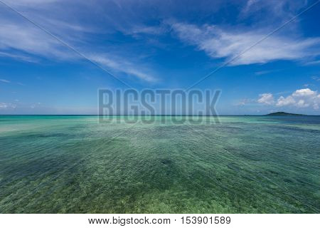 Seascape near the Ikema Bridge of Miyako Island in Okinawa, Japan.