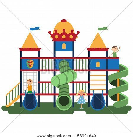 Children on kids playground with related items. Play equipment on white background. Vector illustration. Grouped for easy editing.