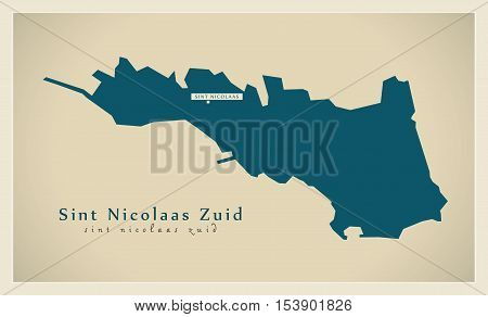 Modern Map - Sint Nicolaas Zuid AW Aruba vector