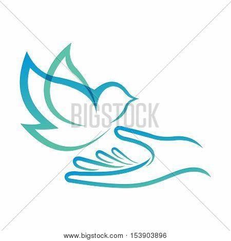 Vector Logo of Peaceful Scene, Outline of a Blue Flying Bird Landing on a Open Hand