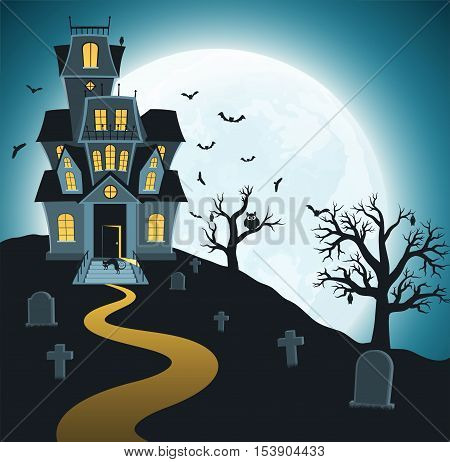 Halloween background with tombs trees bats tombstones graveyard. Spooky dark forest with dead trees and haunted house on background of bright moon.
