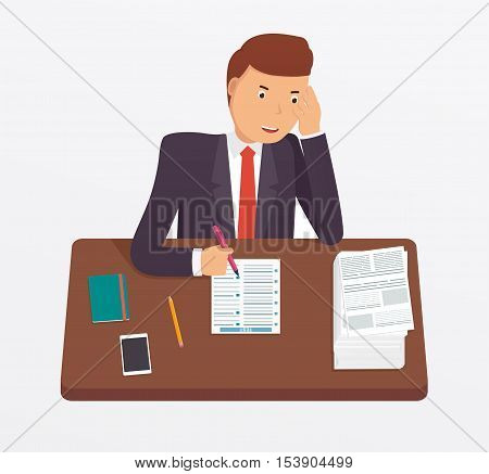 Businessman busy with documents pile of paperwork sitting at office desk. Concept for tension depressed overworked. Employee or student fills test.