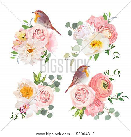 Spring colorful bouquets and cute robin birds vector design objects. Peachy roses dahlia carnation orchid and ranunculus flowers in japanese style. All elements are isolated and editable.