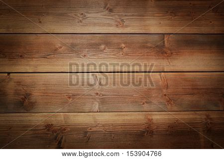 Rustical brown nature wood planks background with vignette