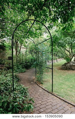 Pergola archway in a garden consisting of a framework covered with trained climbing plants.