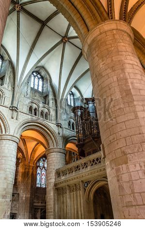 Gloucester UK - August 17 2015: Interior of Cathedral Church of St Peter and the Holy and Indivisible Trinity. Gothic style.