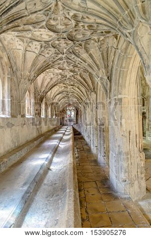 Gloucester UK - August 17 2015: Interior of the cloister of Cathedral Church of St Peter and the Holy and Indivisible Trinity. Gothic style.