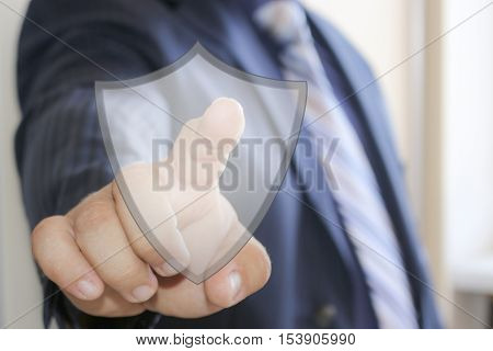 Businessman, button security shield virus icon business online login