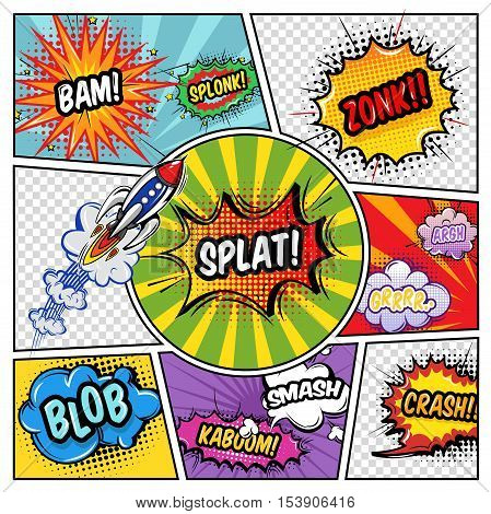 Sound elements comic book with typographic letterings at exploding clouds flying rocket on divided background vector illustration