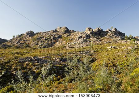 View of the rocky granite boulders on top of the Peneda-Geres Mountain Northern Portugal