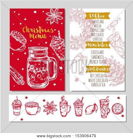 Winter drinks menu in red color with coffee mini bites hot drinks headlines vector illustration