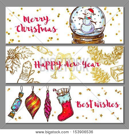 Three horizontal sketch christmas banner set with merry Christmas happy new year and best wishes descriptions vector illustration
