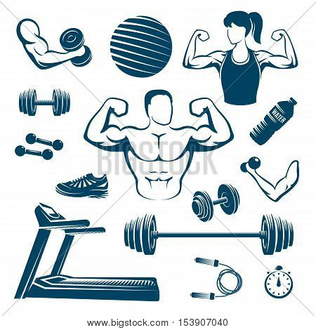 Fitness monochrome elements set with muscular man and woman treadmill dumbbell and barbell ball isolated vector illustration