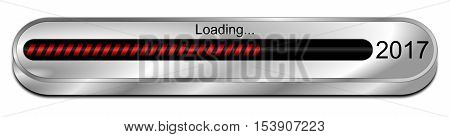 silver red 2017 Loading bar - 3D illustration