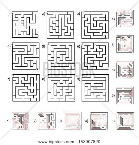 Collection of 9 vector mazes. Labyrinth or maze conundrum for kids with answer. Children funny puzzle game. Entry and exit. Vector illustration isolated on a light background.