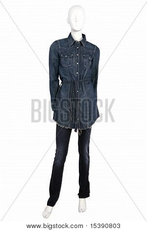 Mannequin Dressed In Jeans Shirt And Trousers