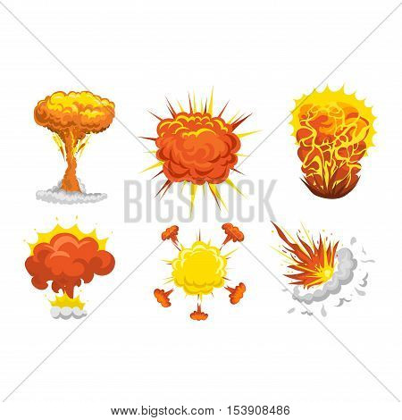 bomb explosion effect vector. Boom fire and strong explosion boom. Fire smoke cloud splash elements. Boom effect illustration