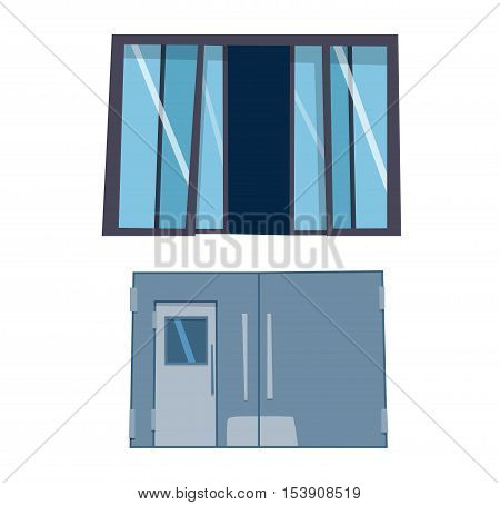 Door isolated on white. Front house or building door in flat design style isolated. Vector illustration door isolated modern new decoration elegant room design