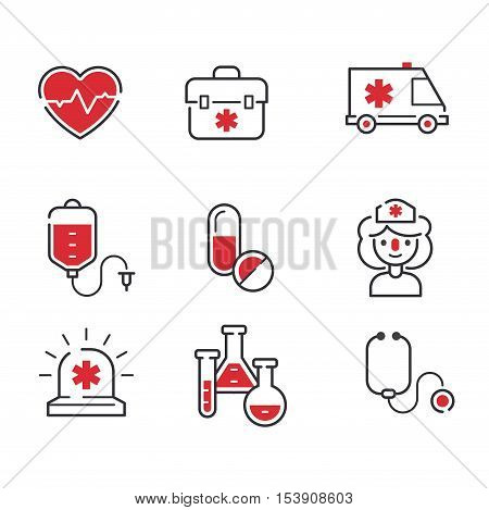 Medical icons set over white background. Set care heart ambulance hospital, emergency medical icons. Vector syringe pharmacy clinic web medical icons. Human laboratory chemical microscope symbols.