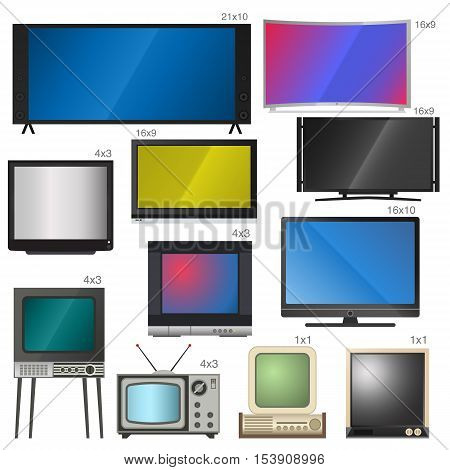 TV screen lcd monitor and notebook, tablet computer, retro templates. Electronic devices TV screens infographic. Technology digital device TV screens, size diagonal display vector illustration.