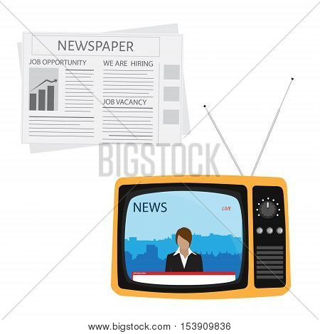 Media On Television Concept.