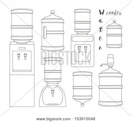 Icons for water cooler appliance on white background. Water jug with faucet, portable water cooler, full bottles and other elements for business and web design.