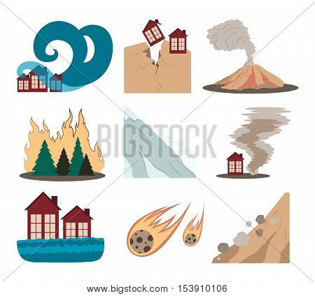Natural disaster icons set with tsunami snow storm thunder isolated vector illustration