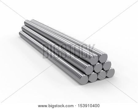rod with male thread isolated on white background, 3D rendering