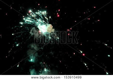 Fireworks display in sky during night time