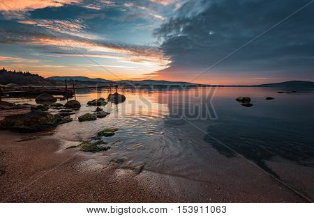 Sunset at the town of Chernomorets, near Burgas, Bulgaria