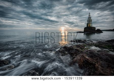 Sunrise at the lighthouse in Ahtopol, Bulgaria