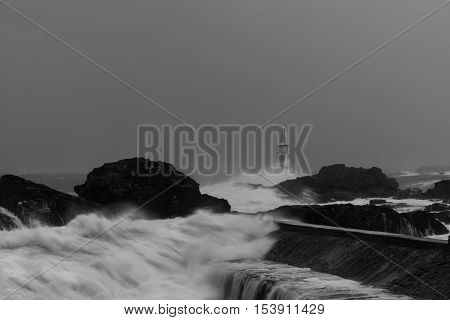 Stormy day at the lighthouse in Ahtopol, Bulgaria