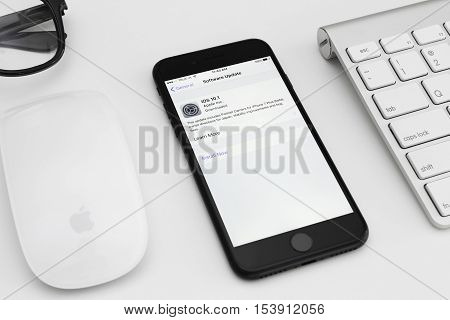 Bangkok Thailand - October 28 2016: iPhone 7 matte black showing screen iOS software update to 10.1 new iphone 7 and iOS developed by the Apple inc.